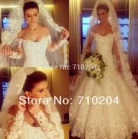 Stunning Luxury Full Beading Long Sleeve Wedding Dress In Dubai NS651