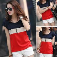 2014 summer chiffon  short-sleeve T-shirt  women's o-neck plus size  patchwork  blouse tops ST032