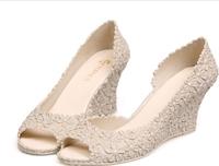 2014 lady  wedding dress shoe wedges  jelly with  lots flower sandal women high heel  pumps party   beach sandal  36-40