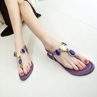 2014 summer princess rhinestone gem sandals female casual fashion flats girls flip flops Bohemia slippers casual shoes