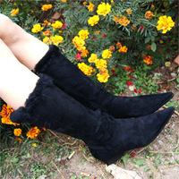 Fashion vintage sheepskin wool boots genuine leather fur one piece pointed toe low-heeled thick heel boots
