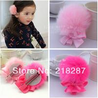 Free Shipping!2014 new hot 20pcs/lot fur ball&Bows Hair clips/Kids/Children/Baby/Girls/Princess/Hair Pins/Hair Accessories