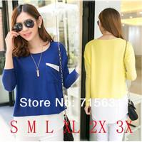 Plus Size XXXL 2014 Spring Summer Women T-Shirt, Fashion Casual O-Neck Loose Long-Sleeve Basic T-Shirts, S-3XL Female T-Shirt