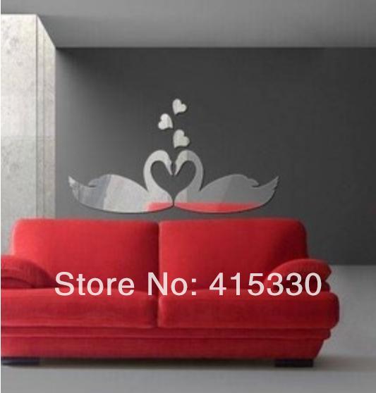 Love Couple Swan Acrylic Plastic Mirrors Wall Home Decal Decor Vinyl Art Sticker(China (Mainland))