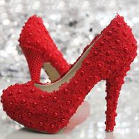 Crystal shoes wedding  rhinestone red pearl flower lace  wedding bridal  high-heeled platform  plus size