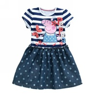 baby girls dresses 2014 new cute cartoon peppa pig with Butterfly polka dots denim kid party dress 3~7age free shipping