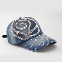 Rhinestones big rose sun-shading denim baseball cap female summer sun hat cap women's