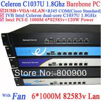 Intel c1037u dual-core platform six Gigabit LAN 82583v RouterOS Mikrotik PFSense Panabit Wayos softing router 1U Server Barebone