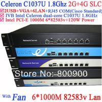 storage server 1U Network Firewall support ROS RouterOS Mikrotik PFSense Panabit Wayos c1037u 6*Gigabit LAN 82583v 2G RAM 4G SLC