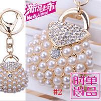 New Rhinestone Handbag shape keychain Charm Pendent Crystal Purse Bag Key Chain Gift