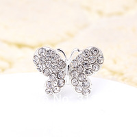 Free Shipping New Silver Plating Shining Crystal ButterflyBridal Gift Hair Pin Jewelry 1.7*2.6*7cm 120pcs/Lot