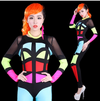 Jumpsuits plus size women Sexy jumpsuit 2014 Neon patchwork jumpsuit Fashion multicolour space Summer jumpsuits Coveralls women