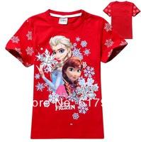 New 2014 Hot Fashion Children's T-shirts Kids Cotton Shorts Sleeve Top T-shirts Girls T-shirts Frozen T-shirts for baby girls