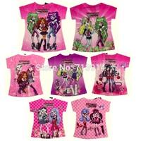 """designer kids girls baby casual monster high"""" clothes 2014 kids' cartoon t-shirt for girl a lot,monster hight girls tops t shirt"""