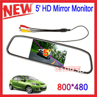 """Factory Outlet NEW 5"""" HD Rearview Mirror Monitor 2ch Video Input 800*480 DC 12V-24V voltage wide Car Monitor For DVD Camera VCR"""