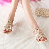 Big Size 34-43 Fashion Women Wedges Flower Cutout Wedges Summer Shoes 2014 New Platform Open Toe Rhinestone Sandals ADM729