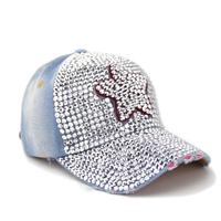 2014 Full rhinestone five star denim sun-shading baseball cap female summer Diamond hat  women's hats fashion girlds denim hats