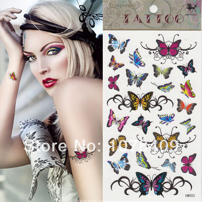 Waterproof tattoos Europe and the United States many small butterfly HM503 coloured drawing or pattern Tattoo(China (Mainland))