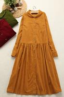B&Y--- Travel . vintage corduroy peter pan peter pan collar one-piece dress  free shippping