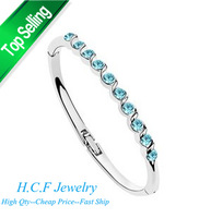 2014 New Christmas GIft 18K GP White Gold Fashion Crystal Jewelry Luxury crystal Accessories wholesale Austrian crystal Bracelet
