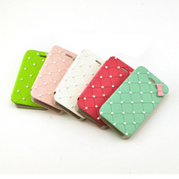 Designed for girls Fashion Pearl Dot Bowknot Flip PU Leather Phone Case Grid Pattern Flip Cover Shell For iphone 4 4s