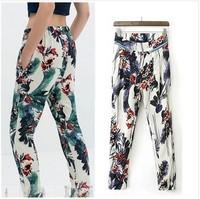 2014 NEW Women's Flower Floral Print Zipper Deco Casual Pants Full Length Leisure Straight Pants Elastic Waist Lady Trousers