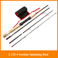 Promotion!!2.1M 4 Section spinning Rod Carbon Ultra light  Hand Pole Sea Rod