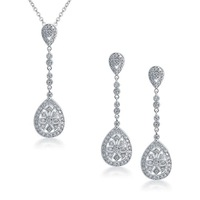 Art Deco Pave CZ Long Teardrop Pendant Necklace and Earring for Women Wedding Jewelry Set Free Shipping