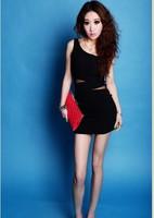 Free Shipping New 2014 fashion one-shoulder oblique gauze cutout sexy club hip slim  dress vestidos de fiesta QU23