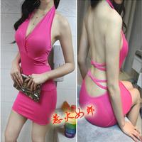 new 2014 spring summer Fashion brief bandage V-neck low-cut halter-neck sexy club evening dress vestidos de fiesta QQ23
