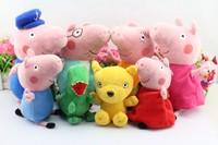 New 8pcs/set Peppa pig Plush Doll Toy Peppa teddy Bear Geroge Dinosaur Peppa pig grandpa and Grandma peppa pig friends