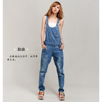 Free Shipping spring 2014 summer women's denim bib pants trousers girl jeans spaghetti strap pants Jumpsuits & Rompers QW453