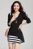 2013 autumn spring dress twinset stripe vest t-shirt chiffon one-piece dress cotton long-sleeve clothing dress free shipping