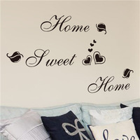 home decoration Diy characters letters 'home sweet' wall stickers Bedroom living room self-adhesive cheap wall sticker