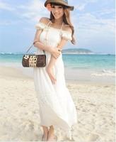 Free Shipping new 2014 spring V-neck slim waist beach bohemia one-piece full dress white  QZ134