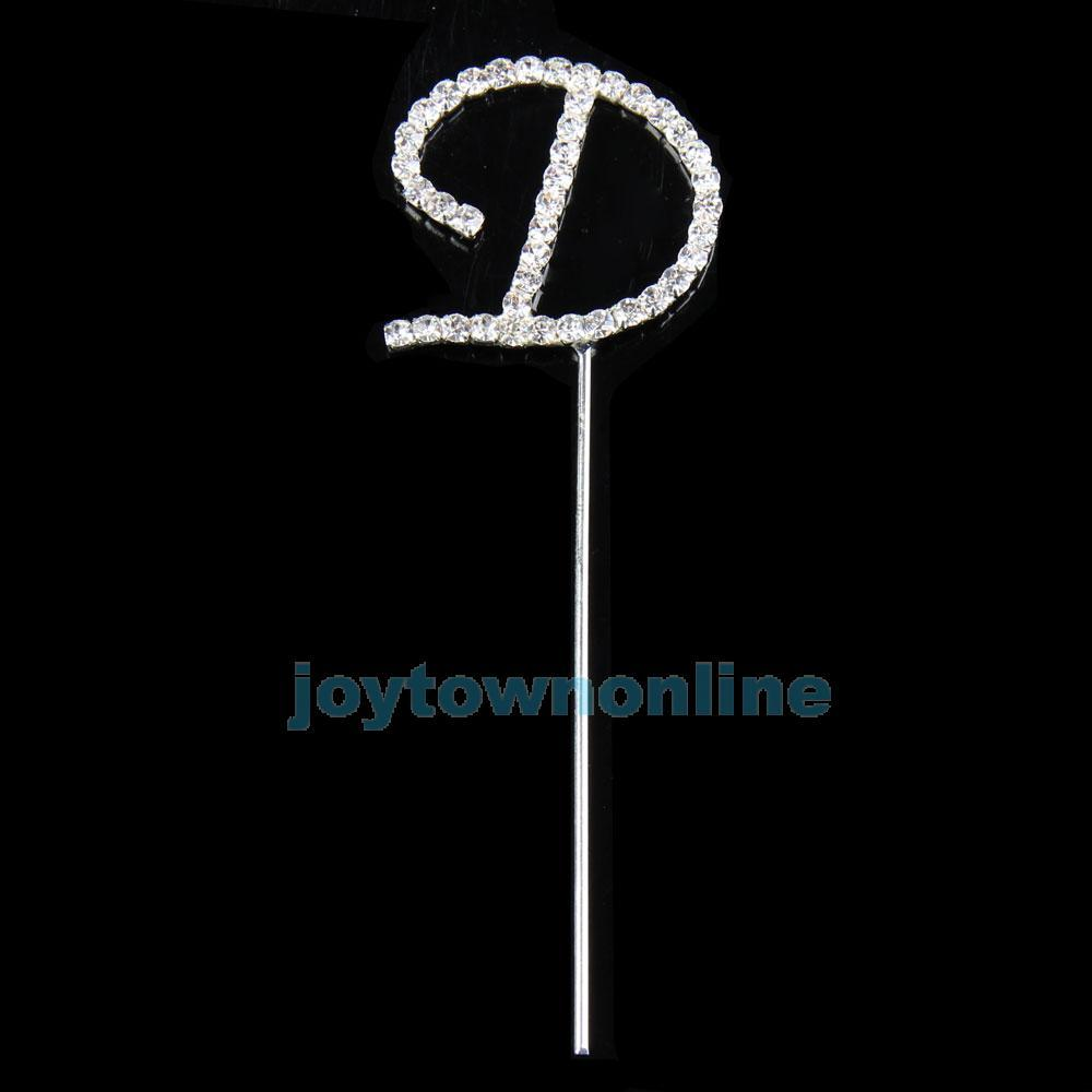 Shiny Rhinestone Letter D Monogram Cake Toppers for Wedding Birthday Decor #1JT(China (Mainland))