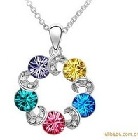 hot-selling multi-colored crystal pendant eternal necklace accessories for woman