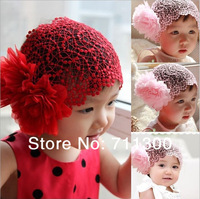 new 2014 baby & kids flower scrunchy headband girls headwear elastic band for hair children accessories