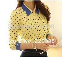 2014 Ladies Spring Slim Peter Pan Diamante Collar Polka Dot Print long-sleeve Chiffon Long-sleeve Blouses Shirt For Women  677