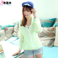 Summer sun protection clothing long-sleeve transparent beach thin anti-uv sunscreen shirt female cardigan