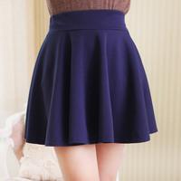 New Skater Stretch Waist Plain Flippy Flared Pleated Jersey Short Skirt Sundress drop shiping
