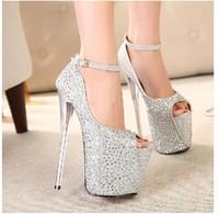 Free shipping  fashion pumps 2014 super beautiful temperament 19CM ultra high heels rhinestone pumps women shoes size(35-40)