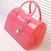 Free shipping 2014 New Design fur candy handbags la wholesale women handbags women fashion candy jelly handbags