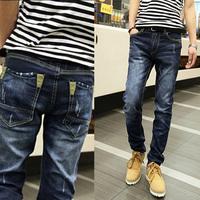 New 2014 mens jeans men dark blue straight designer jeans  urban clothing denim pants for men free&drop shipping