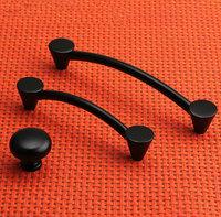 "Matte Black Cabinet Wardrobe Chest Cupboard Knob Drawer Pulls Handles 128mm 5.04"" MBS391-3"