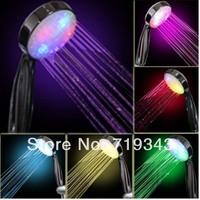 New 2014 led Colorful led shower heterochrosis hand luminous redbud flower shower head handline a14 free shipping