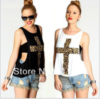 2014 New Sexy Fashion Leopard Print Cross Pattern Print Loose Low O-neck Vest T-shirt Tube Top Twinset Womens Tees.A48