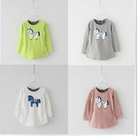 2014 children's spring and summer clothing o-neck long design full-sleeve T-shirt basic shirt female child