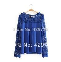 Free shipping Women hook needle knitted cutout flower patchwork chiffon blouse lace blusas female camisa de renda