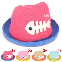 5pcs Animal designs Baby Girl Bucket Hats Children Felt Hats Sun Hat Girl Beach Cap for Summer Free Shipping MZX-14008